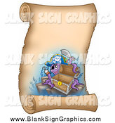 Vector Illustration of a Pirate Captain Octopus with an Empty Chest on a Vertical Parchment Page by Visekart