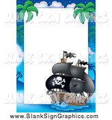 Vector Illustration of a Pirate Ship Border Sign by Visekart