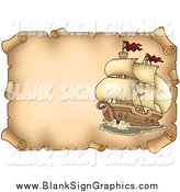 Vector Illustration of a Pirate Ship on a Parchment Page by Visekart