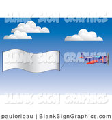 Vector Illustration of a Plane with a Blank Banner Sign by Pauloribau