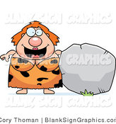 Vector Illustration of a Plump Cave Woman with a Blank Boulder Sign by Cory Thoman