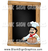Vector Illustration of a Presenting Male Chef with a Roasted Turkey on a Blank Menu Chalk Board by Visekart