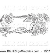 Vector Illustration of a Pretty Black and White Daisy Flower Text Box by Pauloribau