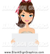 Vector Illustration of a Pretty Brunette Caucasian Woman Holding a Blank Sign by Melisende Vector
