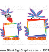Vector Illustration of a Pretty Parrot Holding and Standing Behind a Blank Sign by Kaycee