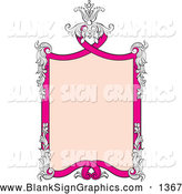 Vector Illustration of a Pretty Pink Text Box Sign Framed in Floral Embellishments by Pauloribau