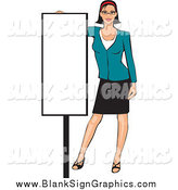 Vector Illustration of a Professional White Woman Presenting a Blank Sign by David Rey