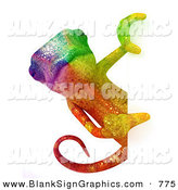 Vector Illustration of a Rainbow Chameleon Lizard Character Looking Around a Blank White Sign by Julos