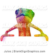 Vector Illustration of a Rainbow Chameleon Lizard Character Standing Behind a Blank Sign and Facing Forward by Julos