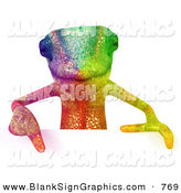 Vector Illustration of a Rainbow Colored Chameleon Lizard Character Pointing down to and Standing Behind a Blank Sign by Julos