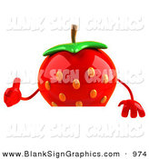 Vector Illustration of a Red 3d Strawberry Character Giving the Thumbs up and Standing Behind a Blank Sign by Julos