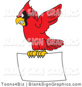 Vector Illustration of a Red Cardinal Flying a Blank Sign by Toons4Biz