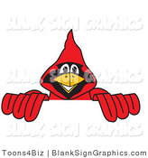 Vector Illustration of a Red Cardinal Holding a Blank Sign by Toons4Biz
