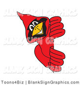 Vector Illustration of a Red Cardinal Looking Around a Blank Sign by Toons4Biz
