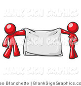Vector Illustration of a Red Couple Holding a Blank Sign Banner by Leo Blanchette