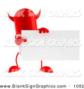 Vector Illustration of a Red Devil 3d Pill Character Holding a Blank Business Card on White by Julos
