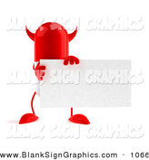 Vector Illustration of a Red Devil 3d Pill Character Holding a Blank Business Card over White by Julos
