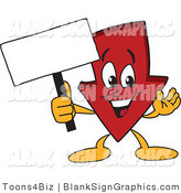 Vector Illustration of a Red down Arrow Holding a Blank Sign by Toons4Biz