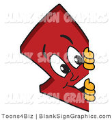 Vector Illustration of a Red down Arrow Looking Around a Blank Sign by Toons4Biz
