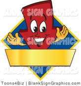 Vector Illustration of a Red down Arrow on a Blue Diamond with a Gold Banner by Toons4Biz