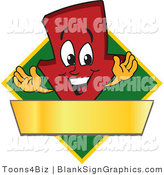 Vector Illustration of a Red down Arrow on a Green Diamond with a Gold Banner by Toons4Biz