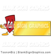 Vector Illustration of a Red down Arrow with a Gold Blank Sign by Toons4Biz