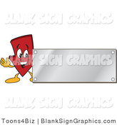 Vector Illustration of a Red down Arrow with a Silver Blank Sign by Toons4Biz