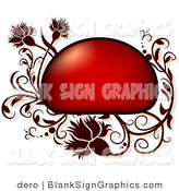 Vector Illustration of a Red Frame with Floral Vines by Dero