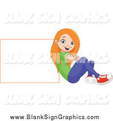 Vector Illustration of a Red Haired Girl Sitting and Leaning Back Against a Blank Sign by Yayayoyo