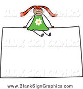 Vector Illustration of a Red Haired Happy Girl Sitting on a Sign by Prawny