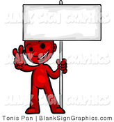 Vector Illustration of a Red Peace Person Holding a Sign by Tonis Pan