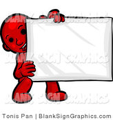 Vector Illustration of a Red Person Holding a Blank Sign by Tonis Pan