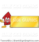 Vector Illustration of a Red up Arrow Blank Gold Plaque Sign by Toons4Biz