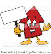 Vector Illustration of a Red up Arrow Holding a Blank Sign by Toons4Biz