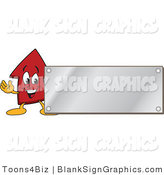 Vector Illustration of a Red up Arrow Waving by a Silver Blank Sign by Toons4Biz
