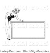 Vector Illustration of a Retro 1940's Style Pinup Girl Bending over a Blank Sign by C Charley-Franzwa