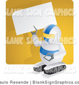 Vector Illustration of a Robot Holding up a Blank Sign by Paulo Resende