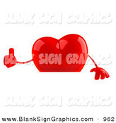 Vector Illustration of a Romantic 3d Shiny Red Heart Character Giving the Thumbs up and Standing Behind a Blank Sign by Julos