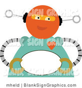 Vector Illustration of a Romantic Robot Holding a Blank Oval Sign by Mheld