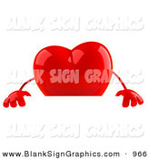 Vector Illustration of a Romantic Shiny 3d Red Heart Character Standing Behind a Blank Sign on White by Julos