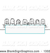 Vector Illustration of a Row of Stick People Characters Looking over a Blank Blue Sign by NL Shop