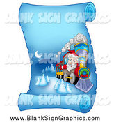Vector Illustration of a Santa Christmas Train on a Frozen Blue Parchment Scroll Page by Visekart