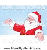 Vector Illustration of a Santa Presenting over a Blank Sign on Snow by Pushkin