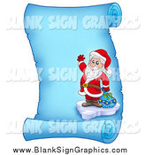 Vector Illustration of a Santa Waving on a Frozen Blue Parchment Scroll Page by Visekart