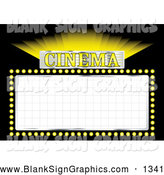 Vector Illustration of a Shining Yellow Cinema Film Movie Sign with Blank Space on Black by Michaeltravers