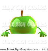 Vector Illustration of a Shiny 3d Green Apple Character Standing Behind a Blank Sign by Julos