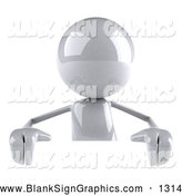 Vector Illustration of a Shiny 3d White Character Standing Behind a Blank Sign by Julos