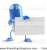 Vector Illustration of a Shiny Blue 3d Pill Character Holding a Blank Business Card by Julos