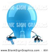 Vector Illustration of a Shiny Blue Glass Light Bulb Character Giving the Peace Gesture and Holding a Blank Sign by Julos