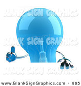 Vector Illustration of a Shiny Blue Glass Light Bulb Character Giving the Thumbs up and Holding a Blank Sign by Julos